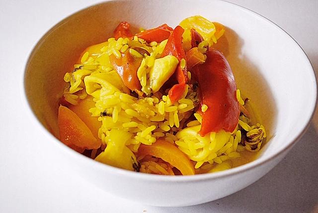 Καλαμάρι με ρύζι και λαχανικά
